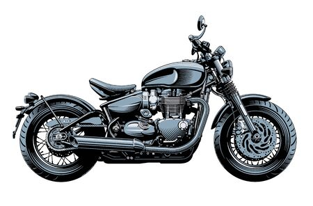 Bobber or chopper motorcycle, side view, isolated on white background. Monochrome high detailed vector illustration. Stockfoto - 135034891