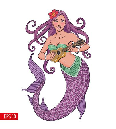 Mermaid playing ukulele, comic style vector illustration.