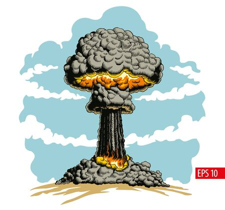 Nuclear explosion. Atomic bomb mushroom cloud comic style vector Illustration.