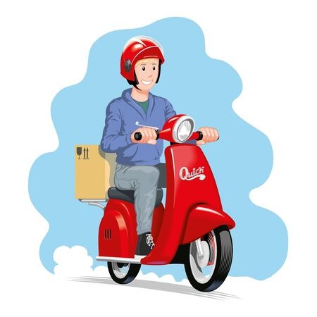 Delivery man riding a red scooter with cardboard box parcel. Vector illustration.