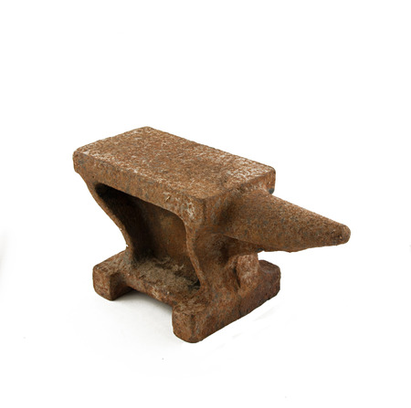 rusty anvil to forge and hard work photo