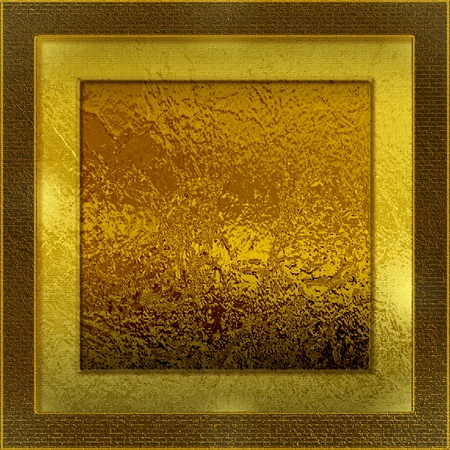 Glossy gold square brick texture with light for background or wall material photo