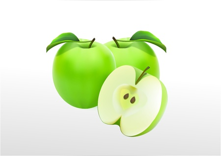 Green apples on a white background Stock Vector - 20386833