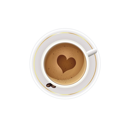 A cup of coffee with heart of foam Illustration