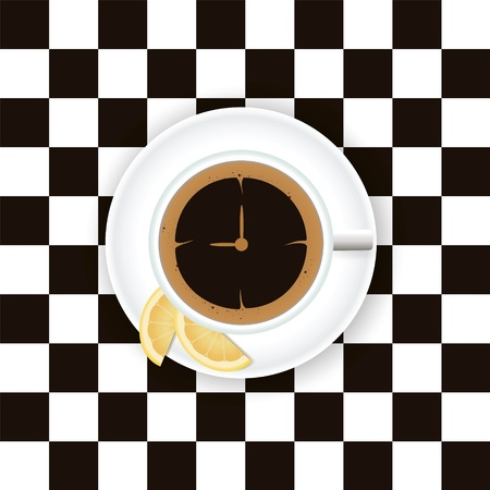 A cup of coffee with a lemon on a saucer on a chess board Illustration