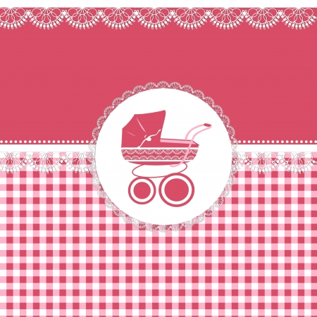 Card for baby girl in pink tones with patterns and sidecar Vector