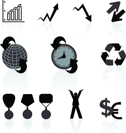 Universal icons for the Internet about success in dark colors Stock Vector - 21006504