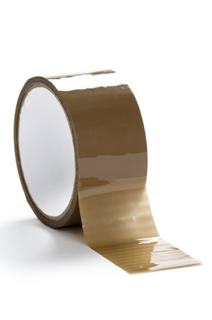 fitas: parcel tape on a white background Imagens