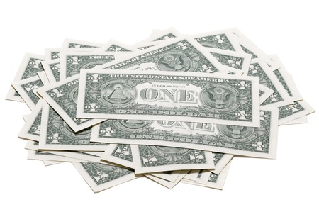 dollar bills: one dollar bills isolated Stock Photo