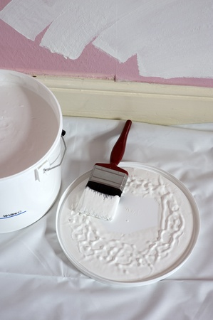 paint and brush for decorating photo