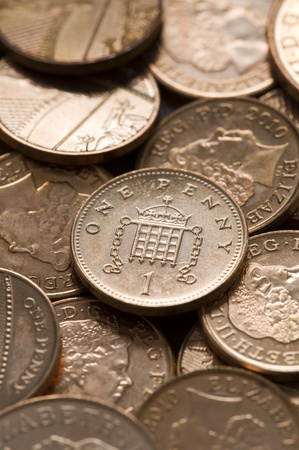 pennies: full frame image of british sterling pennies Stock Photo