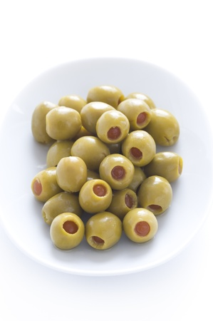 pitted stuffed green olives with pimento Banco de Imagens