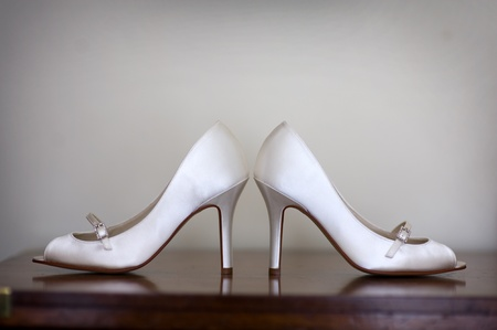 ladies shoes: wedding shoes of the bride Stock Photo