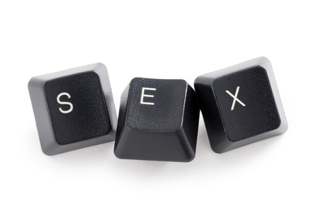 three computer keys spelling the word sex Stock Photo - 13604943