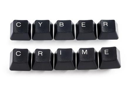 Computer-Tasten Schreibweise der Wörter Cyber-Kriminalität Lizenzfreie Bilder
