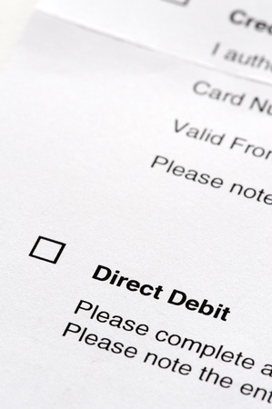 or instruction: tick box on a direct debit instruction form Stock Photo