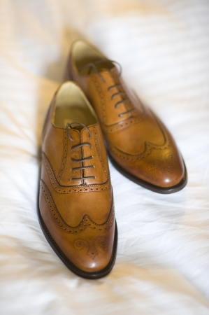 brogues: a pair of new mens brogue shoes in brown