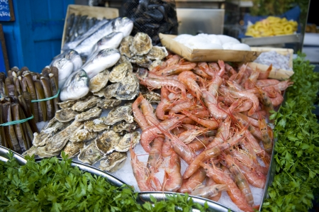 shop for animals: fresh oysters and prawns at the fishmongers Stock Photo