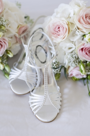 wedding shoes and bouquets nobody photo