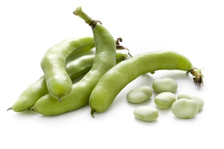 broad beans or fava beans isolated on a white background