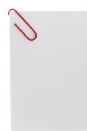 foglio bianco: graffetta colorata su un foglio di carta bianca