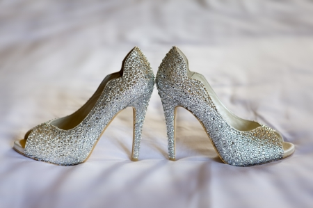 diamante high healed wedding shoes of the bride photo