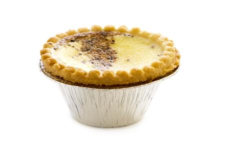 baked egg custard isolated on a white background