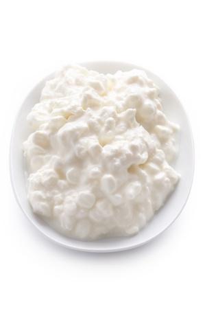흰색 배경에 고립 된 접시에 자연 코티지 치즈 스톡 콘텐츠