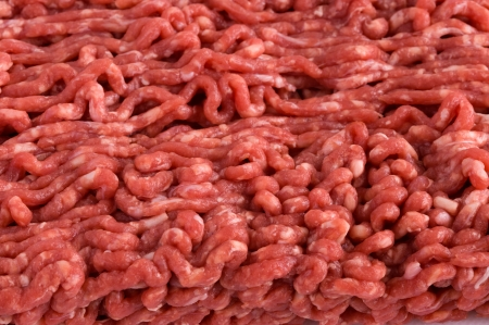 ground beef minced raw uncooked close up full frame