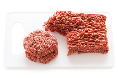 ground beef: making hamburgers from ground beef isolated on a white background