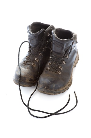 walking boots: black walking boots isolated on a white background