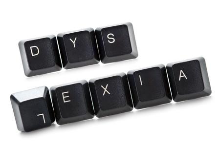 컴퓨터 키패드에서 밖으로 철자 단어 난독증