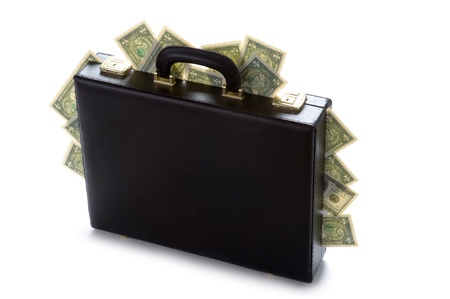briefcase with american dollars protruding 版權商用圖片