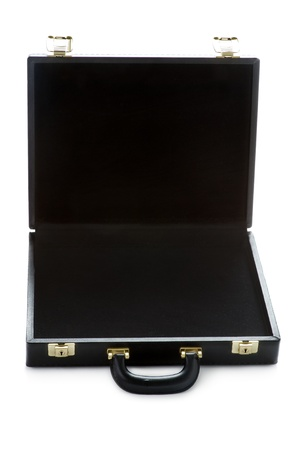 black briefcase: malet�n vac�o negro sobre un fondo blanco