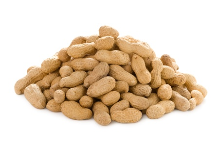 monkey nuts: a heap of monkey nuts isolated on a white background