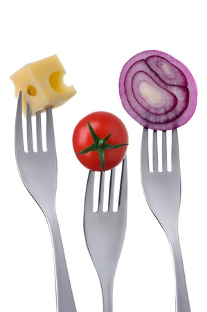 prongs: cherry tomato cheese onion on forks against a white background