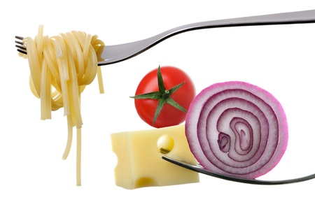prongs: italian food ingredients on forks against white background Stock Photo