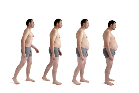 progression: man making incremental weight gain Stock Photo