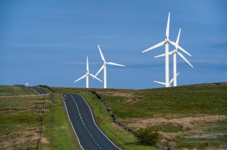burnley: coal clough wind farm burnley, lancashire, england, uk
