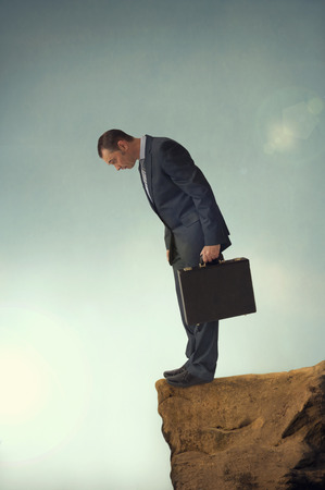 obstruction: businessman facing a difficult challenge concept