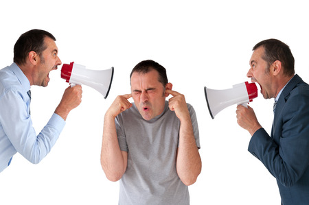 verbal communication: man being yelled at by managers isolated on white