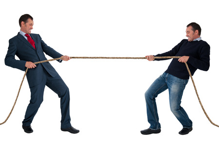 opposition: work life balance men tug of war isolated on white background