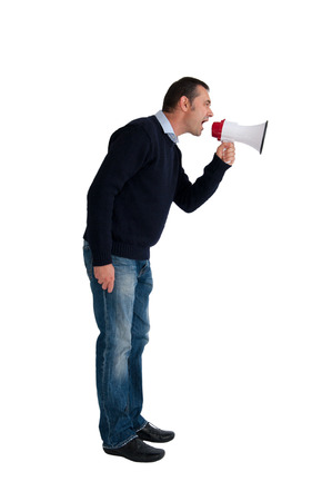 man with loudhailer or megaphone isolated on white background photo