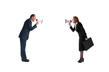business concept conflict megaphone businessman and businesswoman isolated on white photo