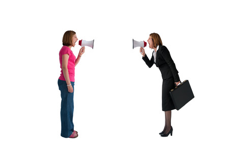 deadlock: businesswoman and woman shouting with megaphones isolated on white background