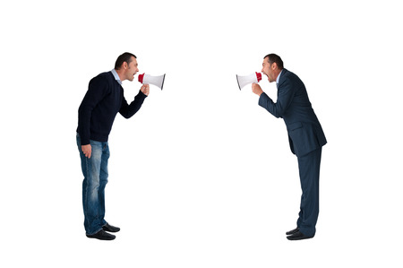 deadlock: men shouting with megaphones isolated on white background