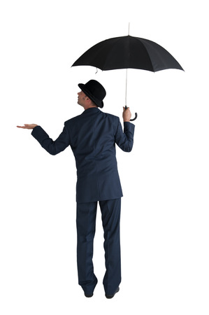 businessman with umbrella isolated on a white background photo