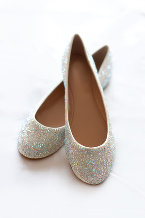 flat wedding shoes with diamante 版權商用圖片