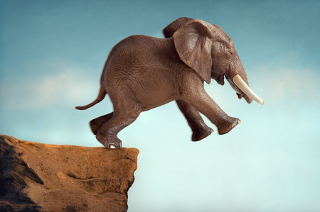 predicament: leap of faith concept elephant jumping into a void Stock Photo