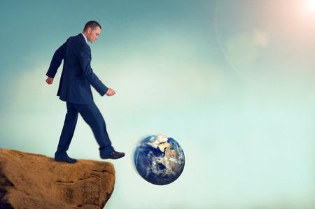 持続不可能なビジネス概念地球環境破壊意図的なモーションブラーの微妙なビンテージ フィルターとレンズ フレア 写真素材